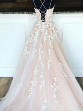 Load image into Gallery viewer, Lace up Back Long Prom Dress with Applique and Beading, Popular Evening Dress ,Fashion Winter Formal Dress PDP0021