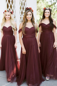 Off Shoulder Long Bridesmaid Dresses ,Cheap Custom Made Wedding Formal Dresses PDB019