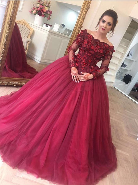 Off Shoulder Ball Gown Long Prom Dress with Sleeves,Fashion Dance Dress,Sweet 16 Quinceanera Dress PDP0261