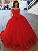 Off Shoulder Ball Gown Long Prom Dress with Applique and Beading,Fashion Dance Dress,Sweet 16 Quinceanera Dress PDP0263