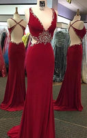 Open Back Mermaid Long Prom Dress With Beading,Fashion Winter Formal Dress PDP0153