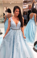 2020 Ball Gown Long Prom Dress With Applique and Beading,Fashion School Dance Dress Sweet 16 Quinceanera Dress PDP0736