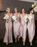 V-neck Floor Length Bridesmaid Dress,Fashion Wedding Party Dress PDB006