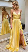 2020 V-neck Prom Dresses with Lace up Back , Long Prom Dress ,Fashion School Dance Dress Formal Dress PDP0695