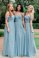 Off Shoulder Long Bridesmaid Dresses ,Cheap Custom Made Wedding Formal Dresses PDB020