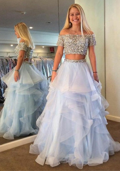 Off Shoulder Two Pieces Long Prom Dress With Beading,Fashion Winter Formal Dress PDP0162