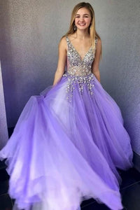 Prom Dresses with Beading V-neck Long Prom Dress 8th Graduation Dress Formal Dress PDP0540