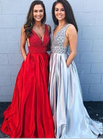 V-neck Long Prom Dress with Beading,Fashion School Dance Dress PDP0137