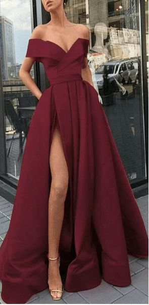 Off Shoulder Sexy Long Prom Dress With Slit, Popular Evening Dress ,Fashion Winter Formal Dress PDP0009