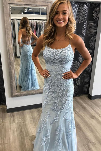 Mermaid Tulle Long Prom Dresses with Applique and Beading PDP0463