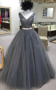 Two Pieces Ball Gown Long Prom Dress With Beading,Fashion Dance Dress,Quinceanera Dress,Sweet 16 Dress PDP0191