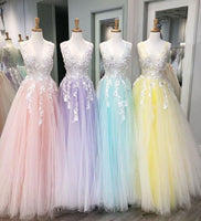 V-neck Long Prom Dress with Applique ,Fashion Dance Dress,Sweet 16 Quinceanera Dress PDP0281
