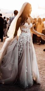 Strapless Sweetheart Tulle/Applique Beach Wedding Dress ,Fashion Custom made Bridal Dress PDW028