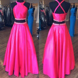 Long Prom Dresses with Beading Two Pieces Fashion School Dance Dress Winter Formal Dress PDP0409
