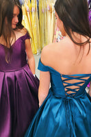 Off Shoulder Long Prom Dress with Lace up Back,Fashion School Dance Dress PDP0134