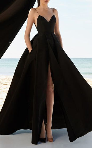 Black Sexy Long Prom Dress With Slit, Popular A-line Evening Dress ,Fashion Winter Formal Dress PDP0010