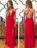 Sexy Long Prom Dress Deep V-neck,Fashion School Dance Dress,Winter Formal Dress PDP0348