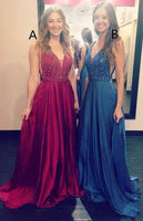 A-line Long Prom Dress with Beading,Fashion School Dance Dress PDP0136