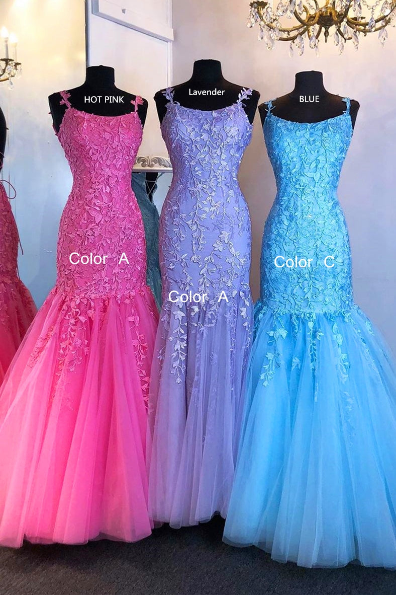 2021 Mermaid Lace up Back Long Prom Dresses with Appliques and Beading Fashion Formal Dress BP007
