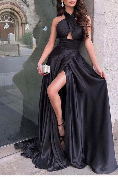2021 Black Sexy Long Prom Dresses, School Dance Dresses ,Fashion Winter Formal Dress PPS057