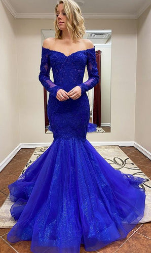 Off Shoulder Mermaid Sparkly Long Prom Dresses Winter Formal Dresses,Evening Dresses PPS135