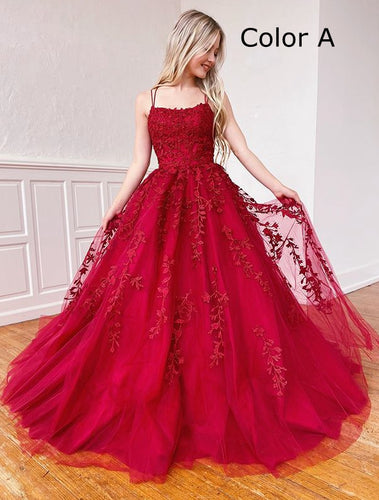 2021 Ball Gown Long Prom Dresses with Appliques and Beading Fashion Formal Dress Lace up Back BP001