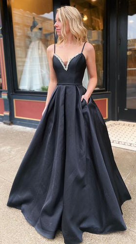 V-neck Black Long Prom Dresses Winter Formal Dresses,Evening Dresses PPS142