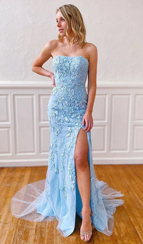 2021 Mermaid Long Prom Dresses with Appliques and Beading Fashion Formal Dress With Slit BP003