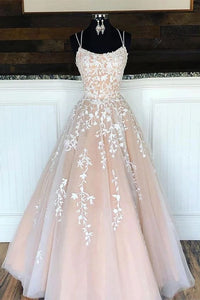 Lace up Back Long Prom Dress with Applique and Beading, Popular Evening Dress ,Fashion Winter Formal Dress PDP0021