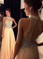 High Neck Long Prom Dress with Beading,Fashion Dance Dress,Sweet 16 Dress PDP0213