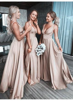 Sexy V-Neck A-Line Floor Length Bridesmaid Dress with Split PDB016