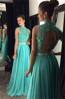 Open Back High Neck Long Prom Dress with Applique and Beading,Fashion Dance Dress,Sweet 16 Dress PDP0244