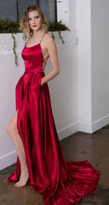 Simple Long Prom Dress with Slit,Fashion Dance Dress PDP0182