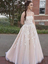 Load image into Gallery viewer, 2020 Long Prom Dresses with Applique and Beading 8th Graduation Dress School Dance Winter Formal Dress PDP0495