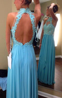 Open Back Long Prom Dress with Applique and Beading,Fashion Dance Dress,Sweet 16 Dress PDP0260