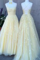 Yellow Tulle Long Prom Dresses with Applique and Beading PDP0462