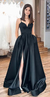 Simple Long Prom Dress with Slit, Popular School Dance Dress ,Fashion Wedding Party Dress PDP0085