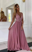 Load image into Gallery viewer, Deep V-neck Sexy Long Prom Dress with Applique, Popular School Dance Dress ,Fashion Wedding Party Dress PDP0078