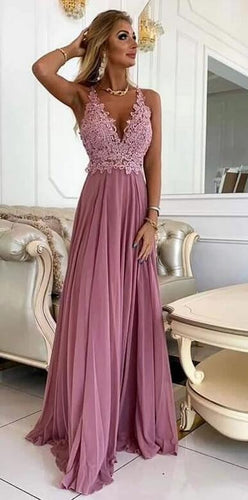 Deep V-neck Sexy Long Prom Dress with Applique, Popular School Dance Dress ,Fashion Wedding Party Dress PDP0078