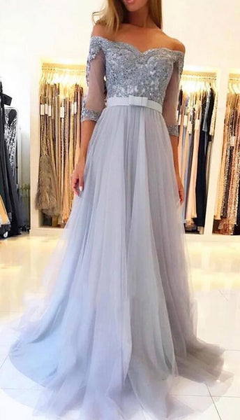 Off Shoulder Long Prom Dress with Applique and Beading, Popular School Dance Dress ,Fashion Wedding Party Dress PDP0081