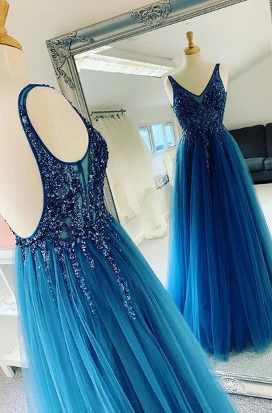 Open Back Long Prom Dress with Beading, Popular School Dance Dress ,Fashion Wedding Party Dress PDP0083