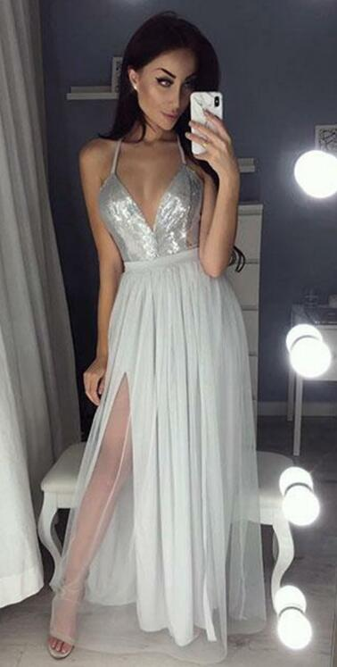 V-neck A-line Long Prom Dress With Slit,Fashion Wedding Party Dress PDP0130
