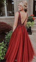 Sexy Long Prom Dress with Beading, Popular School Dance Dress ,Fashion Wedding Party Dress PDP0084