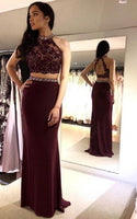 Two Pieces Long Prom Dress with Applique and Beading, Popular Evening Dress ,Fashion Wedding Party Dress PDP0071