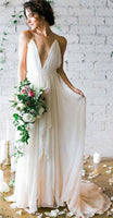 Deep V-Neck A-Line Backless Chiffon Beach Wedding Dress with Sweep Train ,Fashion Custom made Bridal Dress PDW006