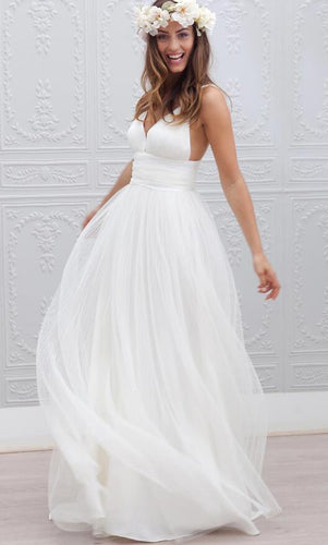 Simple V-neck Floor-Length Open Back Beach Wedding Dress ,Fashion Custom made Bridal Dress PDW005
