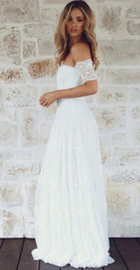 Off Shoulder Lace Boho Beach Wedding Dress with Short Sleeves ,Fashion Custom made Bridal Dress PDW009