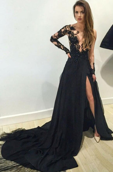 Black A-line Long Prom Dress with Sleeves, Popular Sweet 16 Dress ,Fashion Wedding Party Dress PDP0100