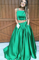 Two Pieces Square Neck Long Prom Dress with Pocket, Popular Winter Formal Dress ,Fashion Wedding Party Dress PDP0102