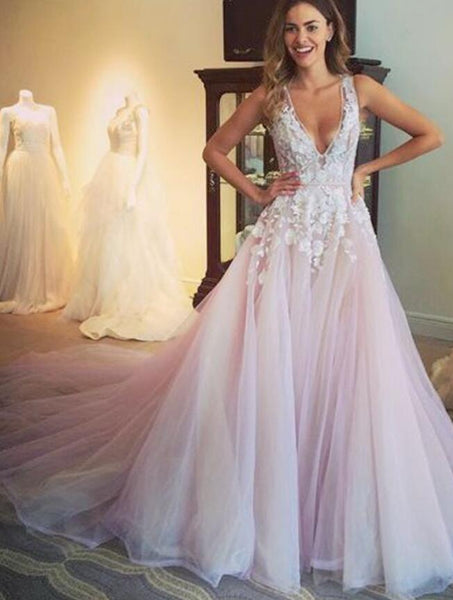 V-neck Long Prom Dress with Appliques, Popular Winter Formal Dress ,Fashion Wedding Party Dress PDP0103